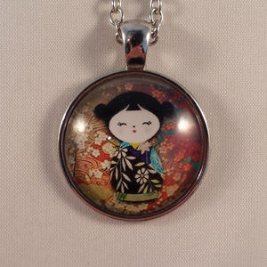 Jewelry - Silver Kokeshi Doll Flower Girl Cabochon Necklace